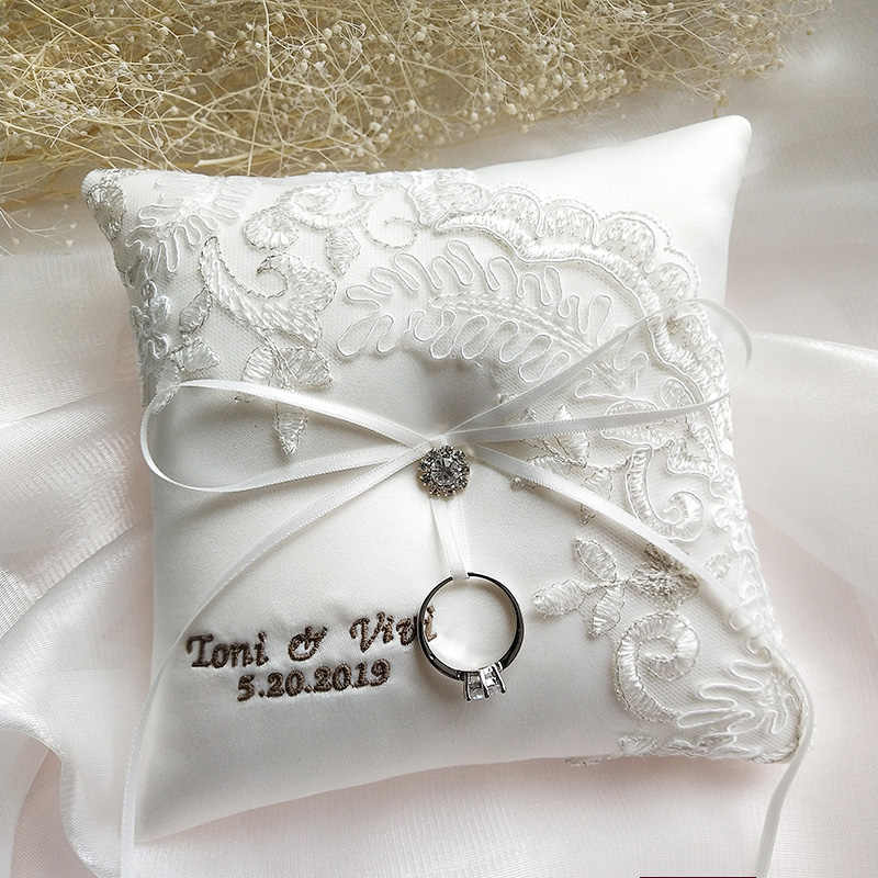 Wedding Ring Pillow Customized Name Wedding Date Embroidered Word