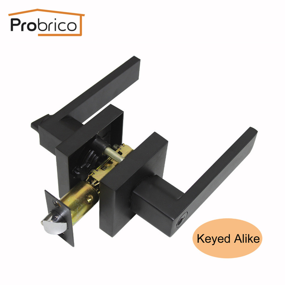 Probrico Black Keyed Alike Stainless Steel Entrance Locks Interior Door Lock Set Heaven Duty Bathroom Bedroom