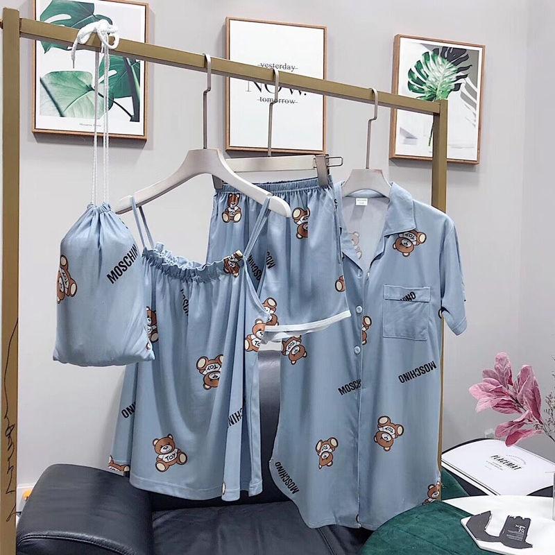 2019 Brand Cotton   Pajamas     Set   Cute Bear Women Sexy Soft Pyjama Mom Home Sleepwear Long Shirt Shorts Blinder 4 Pieces/  Set