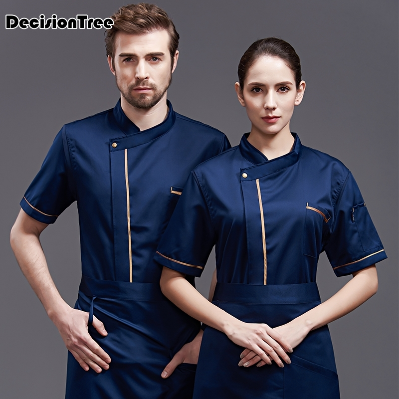 2020 Wholesale Unisex Kitchen Chef Uniform Bakery Food Service Short Sleeve Breathable Double Breasted Cook Wear Chef