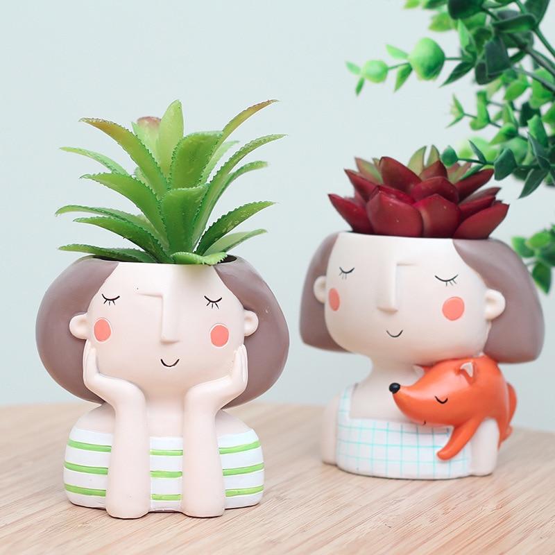 Pinsjar 4 items Succulent Plant Pot Cute Girl Flower Planter Flowerpot Creat Design Home Garden Bonsai Pots Birthday Gift
