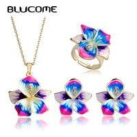 Blucome Lila Emaille Schmuck Sets Blume Anhänger Dünne Halskette Französisch Haken Ohrringe Ring Anel Bijuteria Hochzeit Zubehör