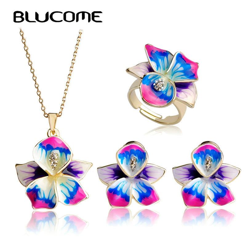 Blucome Purple Enamel Jewelry Sets Flower Pendant Thin Necklace French Hooks Earrings Ring Anel Bijuteria Wedding