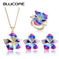 Blucome Purple Enamel Jewelry Sets Flower Pendant Thin Necklace French Hooks Earrings Ring Anel Bijuteria Wedding Accessories