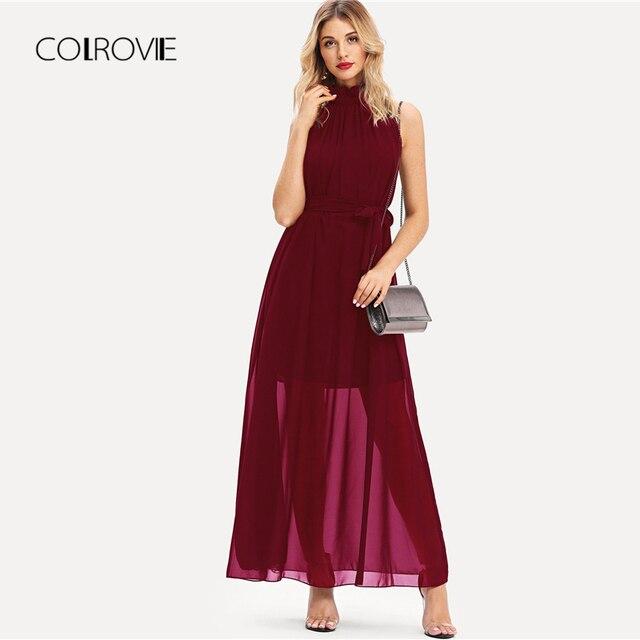 COLROVIE Burgundy Stand Neck Self Tie Waist Chiffon Sexy Party Dress Women  2018 Autumn Solid Black dfccbf5472af