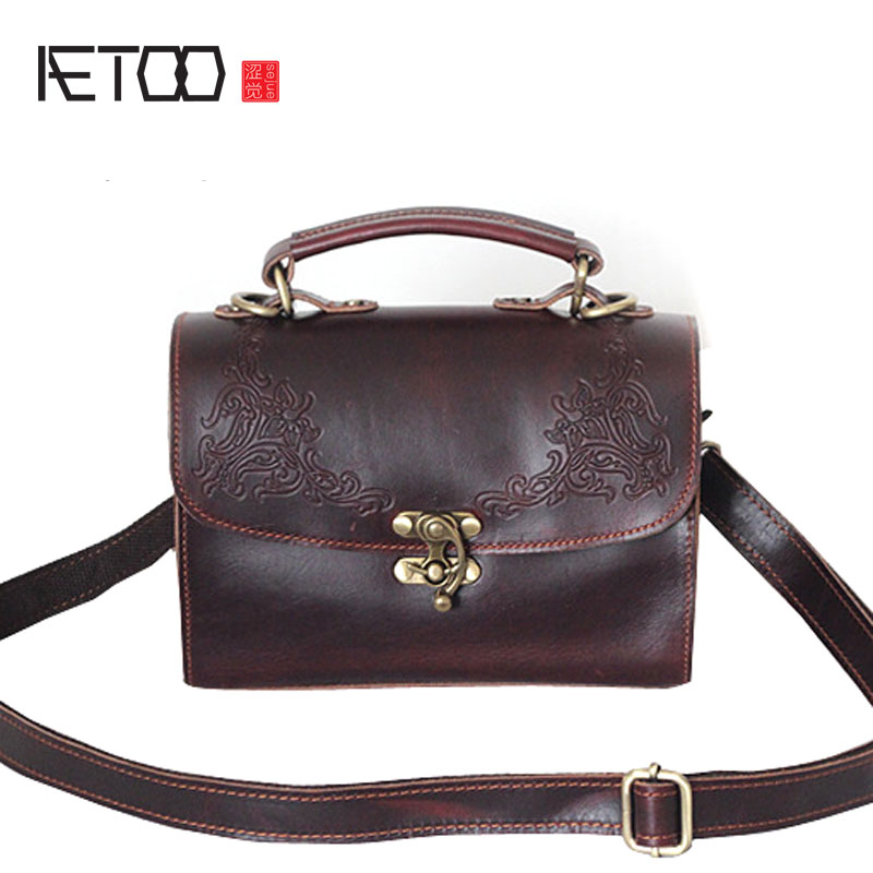 AETOO Summer new bag Korean fashion ladies bag retro embossed leather handbags new summer