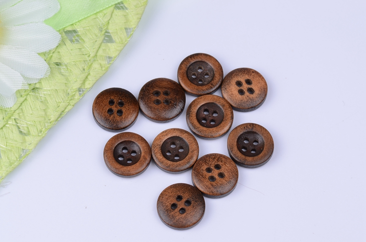 2015 new Cheap Wholesale 100PCS Dark brown painted Natural Button wood  buttons 4 holes clothing accessories 15mm d657ceb08978