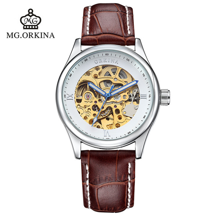 2016 HOT ORKINA Brand Belt Automatic Mechanical Watch Keel Hollow Fashion Business Watch Waterproof luxury watch