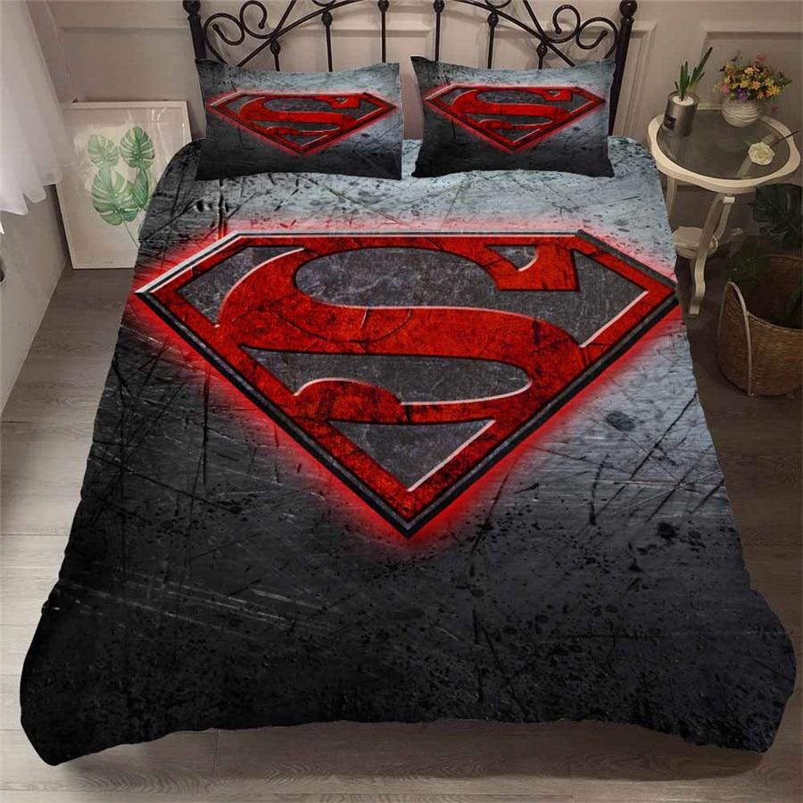 HELENGILI 3D Bedding Set Superman Batman Flash Super Hero Print Duvet Cover Set Bedcloth with Pillowcase Bed Set Home Textiles