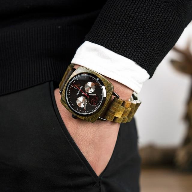 Montre homme BOBO oiseau en bois Quartz montre bracelet homme Saat erkek montres montre Date semaine créer horloge en bois boîte relogio masculino 1