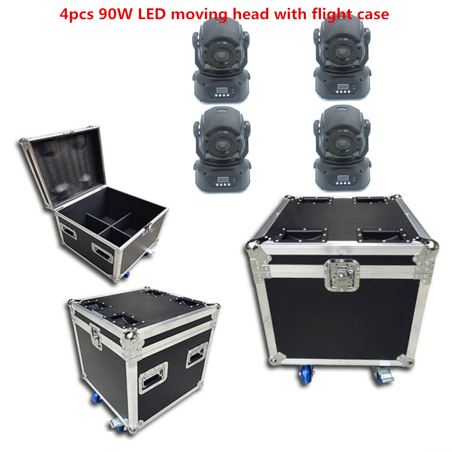 4X 90W LED Moving Head With Flightcase Stage Lighting LED Gobo Light With Roto Gobos 3 Face Roto Prism  DJ Equipment Disco Light
