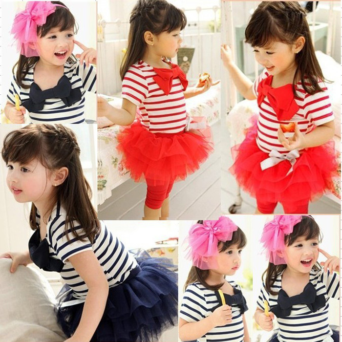 MIOIM Toddler Kid Baby Girls Clothing T-Shirt Top Striped Lace Tutu Skirt Dress Bow 2pcs Outfits Set