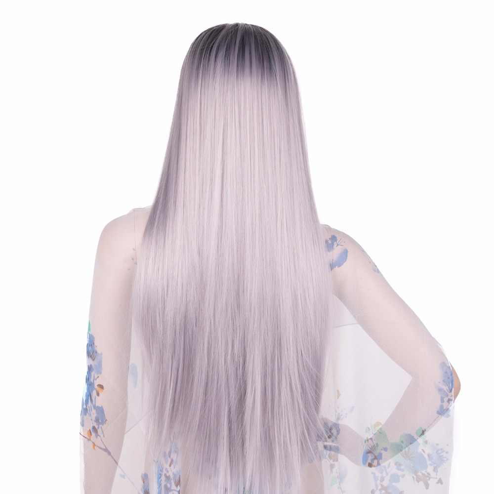 "Chorliss Women Wigs 24""Long Straight Ombre Wigs Synthetic Wigs For Black Women High Temperature Fiber Machine Made Grey Pink"