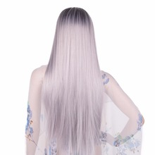 Chorliss 24″Long Straight Women Synthetic Wigs China High Temperature Fiber Machine Made Ombre Wigs 1BTGray Color 150% Density
