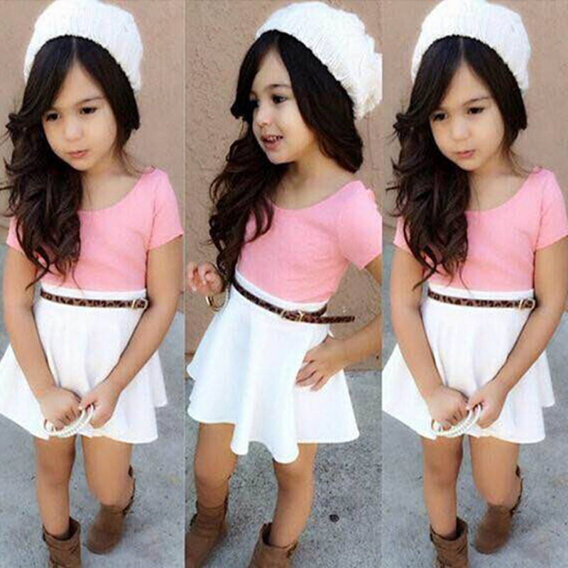 Two piece suit Children Clothing Sets Spring summer Baby Girl Clothes Sets A short-Sleeved T-shirt+Short skirt Chirstmas Outfits