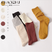 CHAOZHU Spring Summer Fashion Loose Socks High Solid Colors 10 Pairs/Lot Promotion Long Rib Cotton Lady Trendy Stacked
