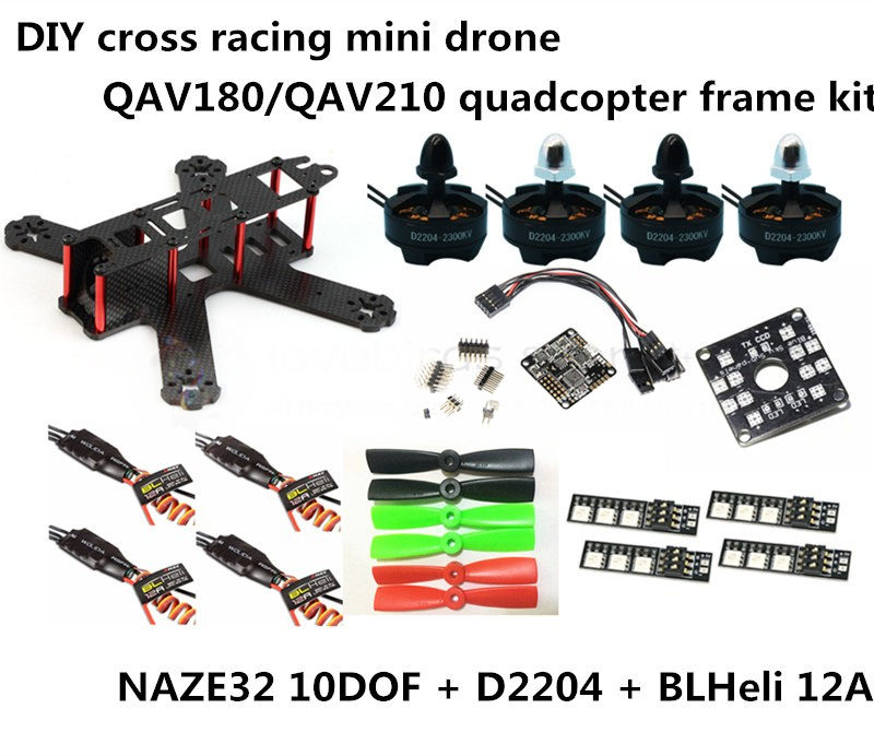 DIY FPV mini drone QAV180 / QAV210 race quadcopter frame kit pure carbon NAZE32 10DOF + D2204 + BLheli 12A ESC Special price new qav r 220 frame quadcopter pure carbon frame 4 2 2mm d2204 2300kv cc3d naze32 rev6 emax bl12a esc for diy fpv mini drone