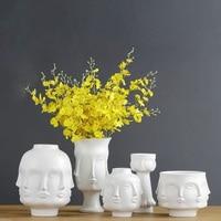 Creative Nodic abstract Planter 3D Face Multi faceted Vase Plant Art Flower Pots Holder Ceramic vase decoration figurines