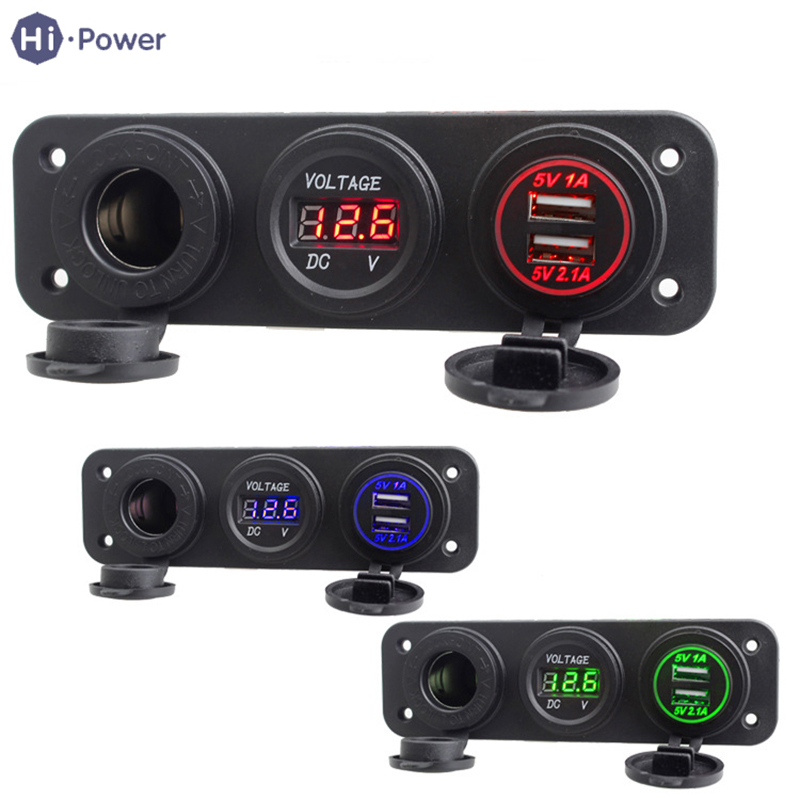 Hi-Power <font><b>Dual</b></font> <font><b>USB</b></font> Auto <font><b>Car</b></font> Cigarette Lighter <font><b>Socket</b></font> Splitter 5V <font><b>3.1A</b></font> Power <font><b>Adapter</b></font> <font><b>Charger</b></font> Digital Voltmeter Display DC <font><b>12V</b></font> image