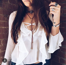 White Eva Blouse Women Love Chiffon Blouses Loose Fit Pullover Plunging Neckline Sexy Ruffle See Through Shirts Blusas Tops