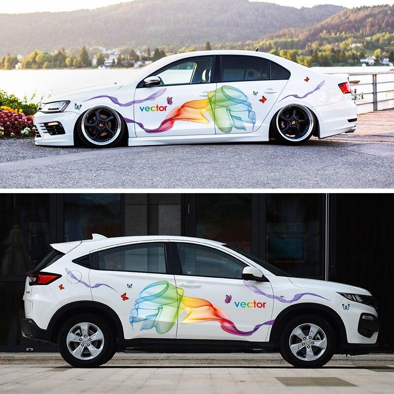 שונות מדבקת לרכוב קשת קסם פרח גוף סרט קו למשוך שתי מדבקות לרכב קטן דלת חכמה שונות (2)