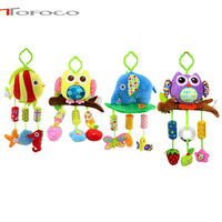 40cm Baby Plush Lathe Hanging Bells Baby Toy For Bed With 3 Wind Chimes Owl Elephant