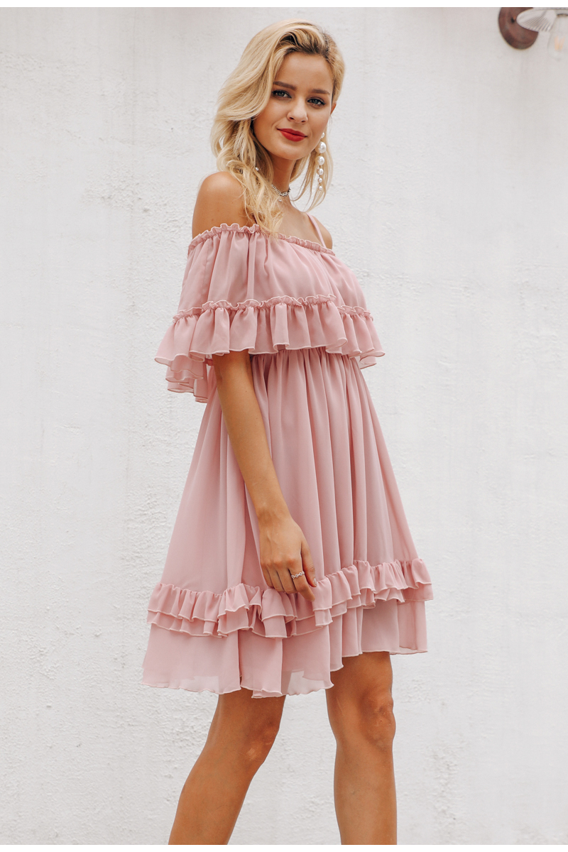 Simplee Elegant ruffle off shoulder women dress Spaghetti strap chiffon summer dresses Casual holiday female pink short sundress 11