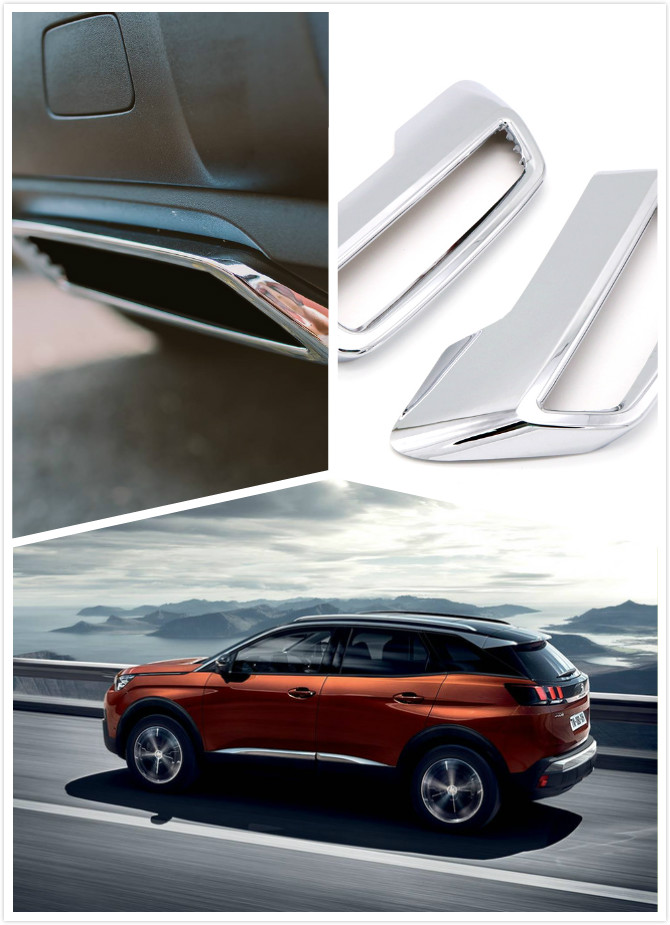 For Peugeot 3008 II Allure Active 5008 2017 2018 2019 ABS Chrome Rear Exhaust Muffler Outputs Sticker Cover 2pcs for peugeot 3008 5008 2017 2pcs set rear exhaust muffler pipe cover trim decoration