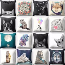 Hongbo 1 Pcs Cute Cartoon Tiger Wolf Dog Cat Sloth Penguin Deer Elk Pattern Cushion Cover Sofa Pillow Case Home Decor