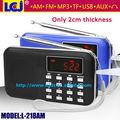 L-218AM Portable usb micro sd card reader mini speaker with digital auto scanner fm am radio mp3 player