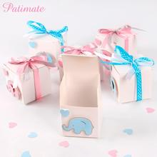 12pcs Elephant Design Candy Box Baby Shower Gift Bag Birthday Party Kids Cardboard Kraft Paper for Gifts