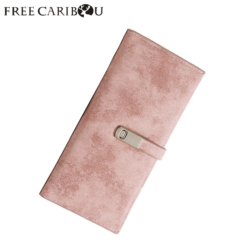 FREE CARIBOUMinimalist wallet Luxury Designer purse frosted wallet long Korean version of thin 2018 new students minimalist buck