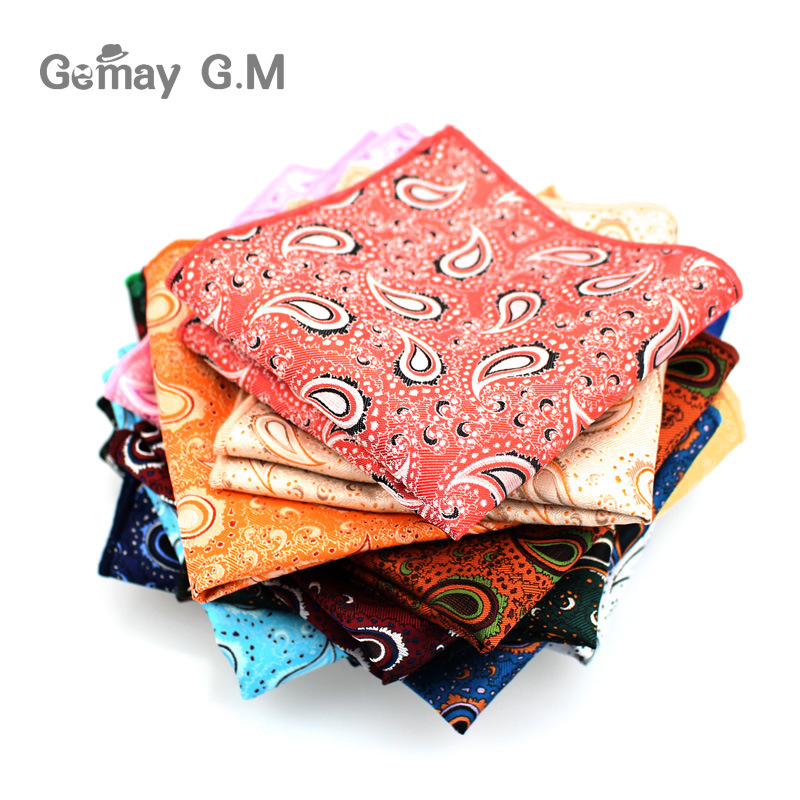 Brand Vintage Mens Paisley Handkerchief Pocket Floral Pocket Square Business Chest Towel Hanky 25cm*25cm Gentlemen Suit Hankies