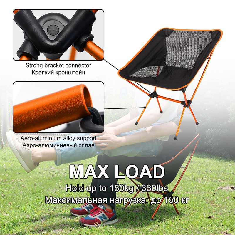Outdoor Portable Folding Fishing Chairs Max Load Compact Camping Beach Chair Lightweight Comfortable Backrest Storage BBQ ChairOutdoor Portable Folding Fishing Chairs Max Load Compact Camping Beach Chair Lightweight Comfortable Backrest Storage BBQ Chair