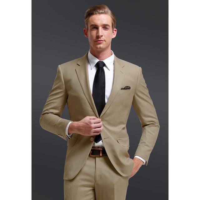 Little Fresh Notch Collar Men Suits Khaki Groomsmen Suit For Beach ...