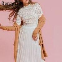 BerryGo Elegant embroidery lace dress women O neck pleated plus size long white dresses Autumn winter ladies party vestidos 2019