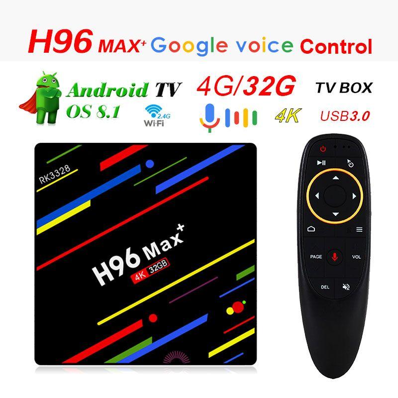 H96 MAX plus Android 8.1 RK3328 Support Voice 4 gb 32 gb Quad-Core 64bit WiFi 2.4g wifi pk h96 max h2 avec google voice control