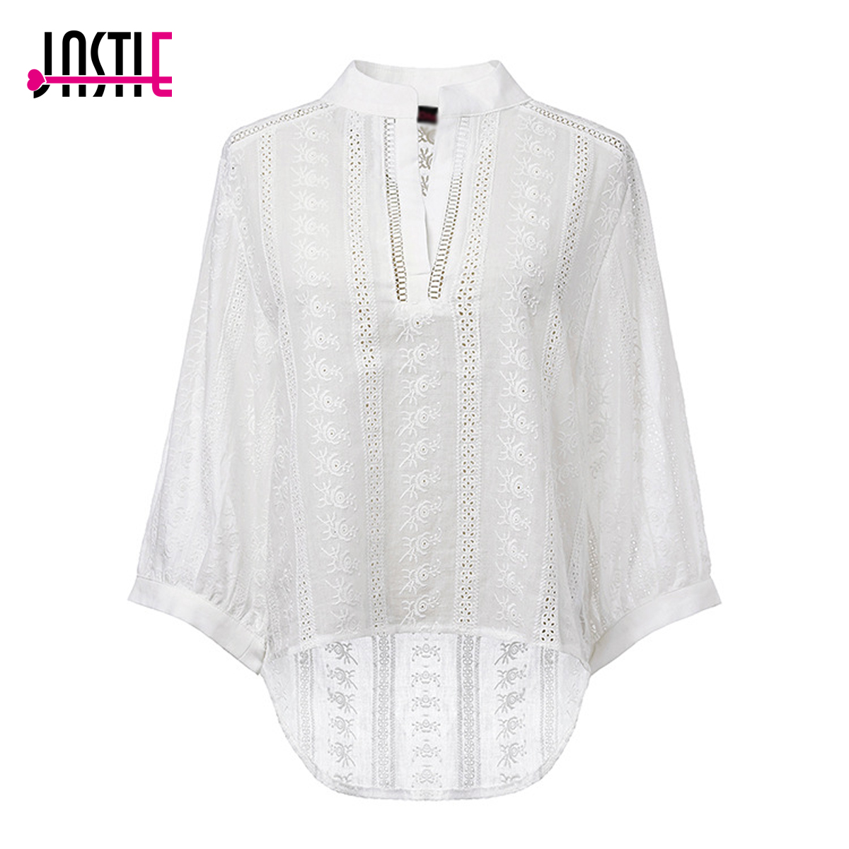 Jastie Spring Summer Blouse Top Floral Embroidered Women Blouses Shirt V-Neck Casual Blusa Patchwork Lace Doll Sweet Shirts Top