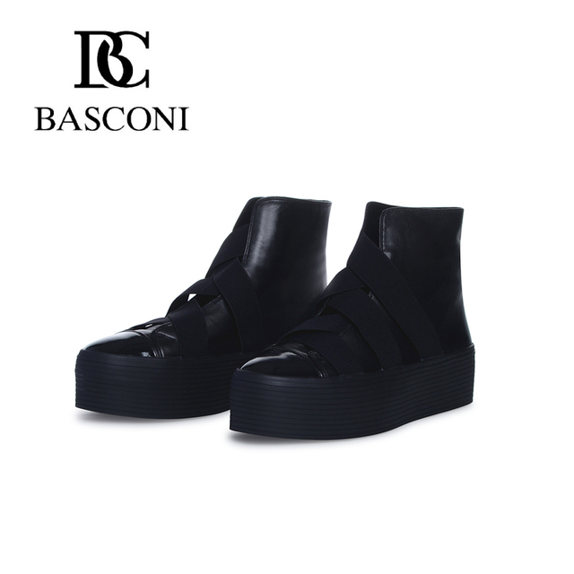 2b3fc757 Бесплатная доставка basconi осень зима 2015 2016 круглый нос платформа  эластичные резинки кожаные молодежные женские ботинки