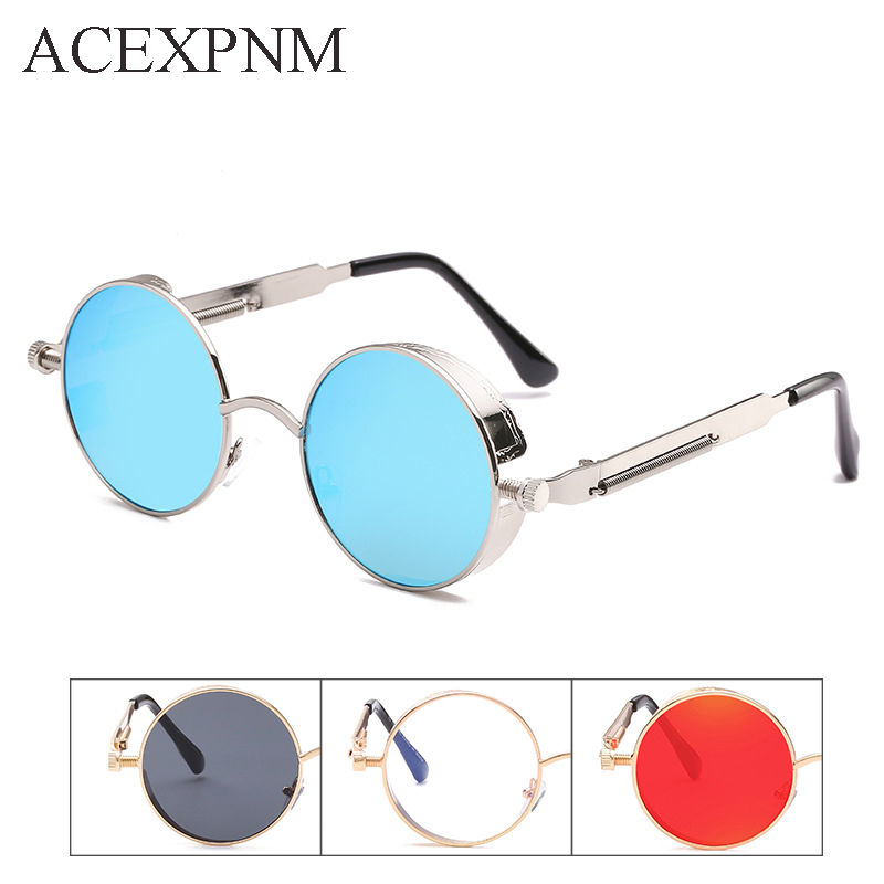 ACEXPNM Round Metal Solglasögon Steampunk Män Dam Mode Glasögon - Kläder tillbehör - Foto 5