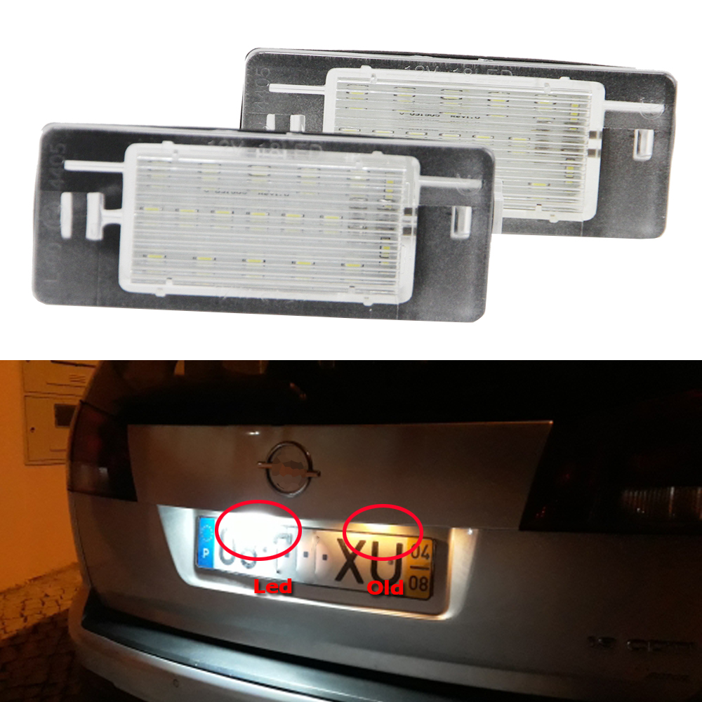 2x Canbus 3528SMD led License plate light number plate lamp Car Light Bulbs for Opel Vectra C Estate 2002-2008 Car light source eonstime 2pcs canbus 18smd led number license plate light lamp for hyundai i30 gd 2013 2014 2015 auto car styling