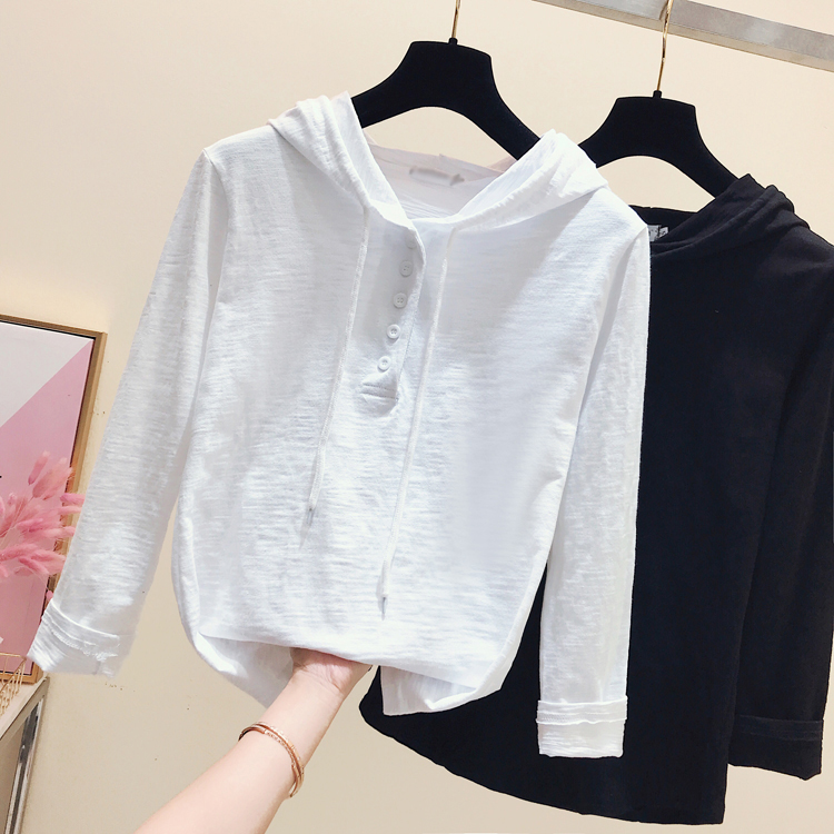 Spring Clothes Sweatshirt Women Bamboo Cotton Shirts Ladies Simple White Long-sleeved T-shirt Loose Hooded Shirts Pullovers