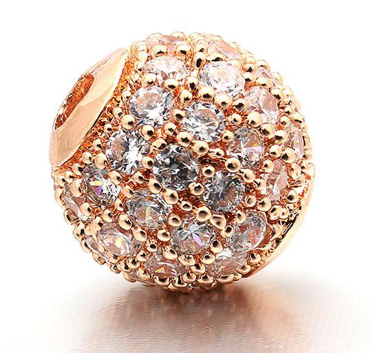 6 мм/8 мм/10 мм лучшее качество латунные кубические циркониевые круглые разделительные бусины для ювелирных изделий DIY, смешанные цвета, Модель: VZ4/5/6 - Цвет: Rose Gold