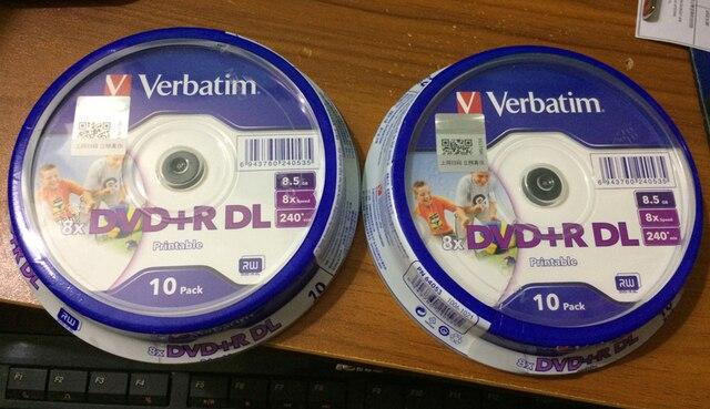 Freeshipping 20 Verbatim pack balnk imprimable DVD + R DL 8X Double on
