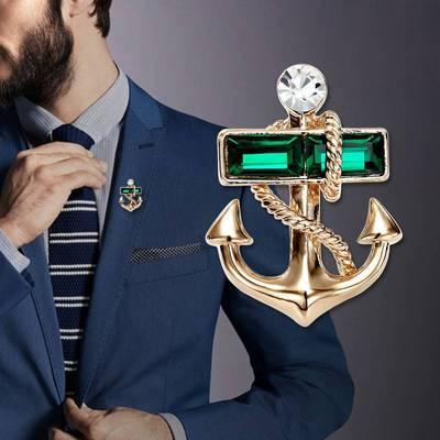 Utei брошь высокого качества элегантный хрустальный якорь брошь золотого цвета сплав новинка мужской костюм цветная булавка модная деловая рубашка шпильки