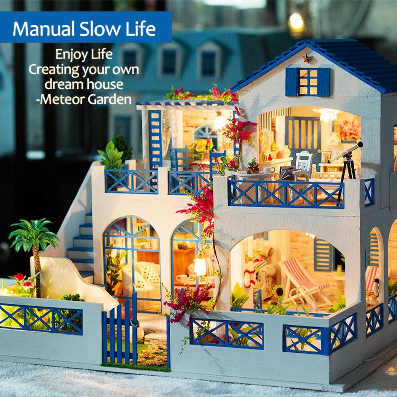 فتاة الأثاث DIY مصغرة بيت الدمية 3D دمى خشبية منازل لغز لعب للأطفال مصغرة دمية الأثاث عدة-في منازل الدمى من الألعاب والهوايات على  مجموعة 3