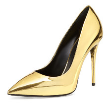 New Arrival Gold Pointed Toe Ultra High Heels Women Shoes Slip on Stilettos Fashion Women Party Shoes Zapatos Mujer Plus Size