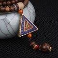 Moda collar étnico de evadir, doble placa triangular forma joyería de Nepal, hecha a mano bodhi sanwood colgantes vintage collar púrpura