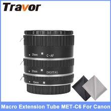 Travor MET-C6 Metal Auto Focus AF Macro Extension Tube For Canon EF-S Lens DSLR Camera with 2pcs Microfiber Lens Cloth
