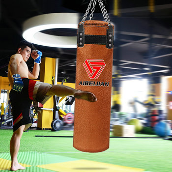 120cm Cowhide Kick Boxing Punching Bag Sandbag For Adult MMA Muay Thai Taekwondo Sport Fitness Training Exercise Equipment boxe 2